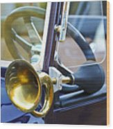 Antique Brass Car Horn Wood Print