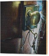 Antique Brass Doorknob Wood Print