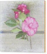 Antique Camellias Square Wood Print