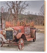 Antique Car And Filling Station 1 Wood Print
