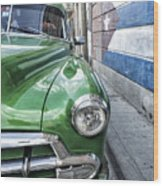 Antique Car And Mural 2 Wood Print