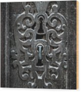 Antique Door Lock Wood Print
