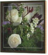 Antique Floral Arrangement Framed Wood Print