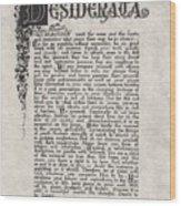 Antique Florentine Desiderata Poem By Max Ehrmann On Parchment Wood Print