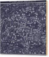 Antique French Pocket Map Of Paris Blueprint Style Wood Print