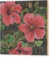 Antique Hibiscus Black 2 Wood Print