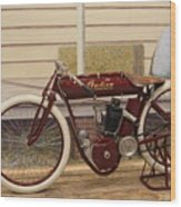 Antique Indian Motorcycle Red...   # Wood Print