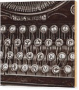 Antique Keyboard - Sepia Wood Print