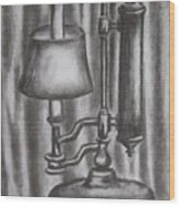 Antique Lamp In Charcoal Wood Print
