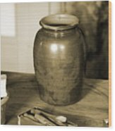 Antique Laundry And Clothes Pins In Sepia Photograph Wood Print