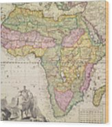 Antique Map Of Africa Wood Print by Pieter Schenk