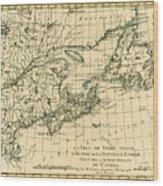 Antique Map Of Eastern Canada Wood Print