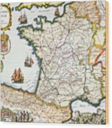 Antique Map Of France Wood Print