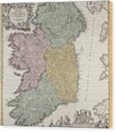 Antique Map Of Ireland Showing The Provinces Wood Print