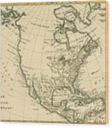 Antique Map Of North America Wood Print