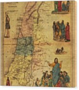 Antique Map Of Palestine 1856 On Worn Parchment Wood Print