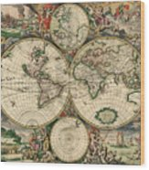 Antique Map Of The World - 1689 Wood Print