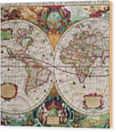 Antique Map Of The World - Double Hemisphere Wood Print