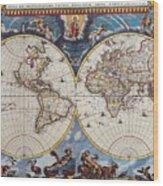Antique Maps Of The World Joan Blaeu C 1662 Wood Print