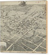 Antique Maps - Old Cartographic Maps - Antique Birds Eye View Map Of Denton, Texas, 1883 Wood Print