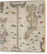 Antique Maps - Old Cartographic Maps - Antique Map Of Schetland And Orkney Islands - Scotland,1654 Wood Print