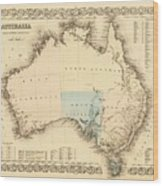 Antique Maps - Old Cartographic Maps - Antique Map Of Australia Wood Print