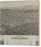 Antique Maps - Old Cartographic Maps - Antique Map Of Ciudad, Mexico, 1890 Wood Print