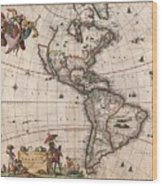 Antique Maps - Old Cartographic maps - Antique Map of North and South America, 1658 Wood Print