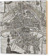 Antique Maps - Old Cartographic Maps - Antique Map Of Paris, France, 1643 Wood Print