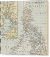 Antique Maps - Old Cartographic Maps - Antique Map Of Philippine Islands And Manila Bay, 1898 Wood Print