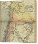 Antique Maps - Old Cartographic Maps - Antique Map Of Syria, 1884 Wood Print