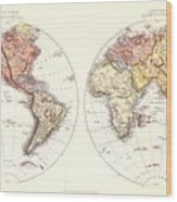 Antique Maps - Old Cartographic Maps - Antique Map Of The Eastern And Western Hemisphere, 1850 Wood Print
