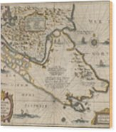 Antique Maps - Old Cartographic Maps - Antique Map Of The Strait Of Magellan, South America, 1635 Wood Print