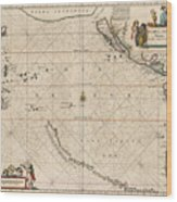 Antique Maps - Old Cartographic Maps - Antique Map Of The Strait Of Magellan, South America, 1650 Wood Print