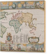 Antique Maps - Old Cartographic Maps - Antique Map Of The World Wood Print