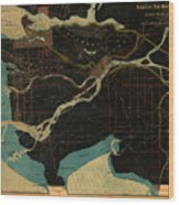 Antique Maps - Old Cartographic Maps - Antique Map Of Vancouver, New Westminster, Steveston Wood Print