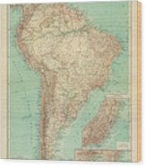 Antique Maps - Old Cartographic Maps - Antique Russian Map Of South America Wood Print