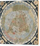 Antique Maps - Old Cartographic maps - Flat Earth Map - Map of the World Wood Print