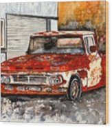 Antique Old Truck Painting Wood Print