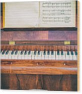 Antique Piano And Music Sheet Wood Print
