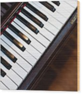 Antique Piano Keys From Above With Hardwood Floor Wood Print