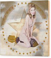Antique Pin-up Girl On Missile. Bombshell Blond Wood Print