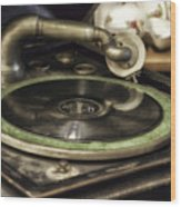 Antique Record Player 01 Wood Print