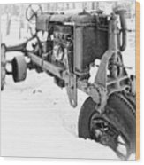 Antique Steel Wheel Tractor Black And White Wood Print