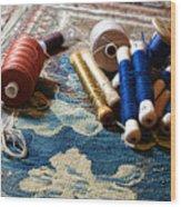 Antique Tapestry Repair  Wood Print