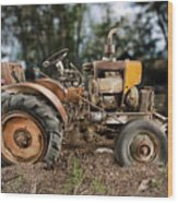 Antique Tractor Wood Print