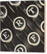 Antique Typewriter Keys Detail Wood Print