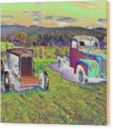 Antique Vehicles Wood Print