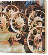 Antique Wagon Wheels And Baskets Wood Print