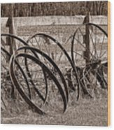 Antique Wagon Wheels I Wood Print by Tom Mc Nemar
